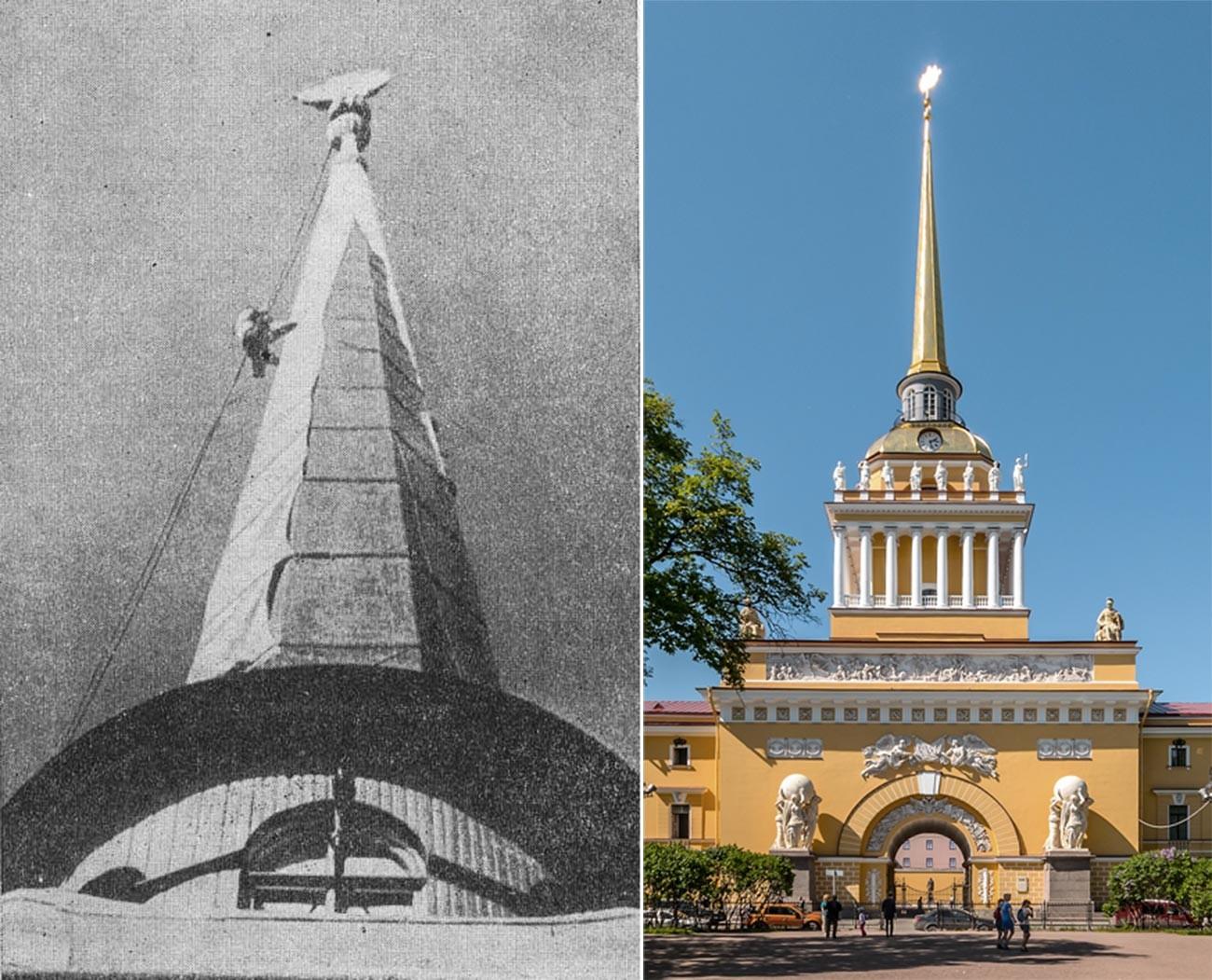 La flèche du bâtiment de l'Amirauté recouverte \ Le bâtiment de l'Amirauté