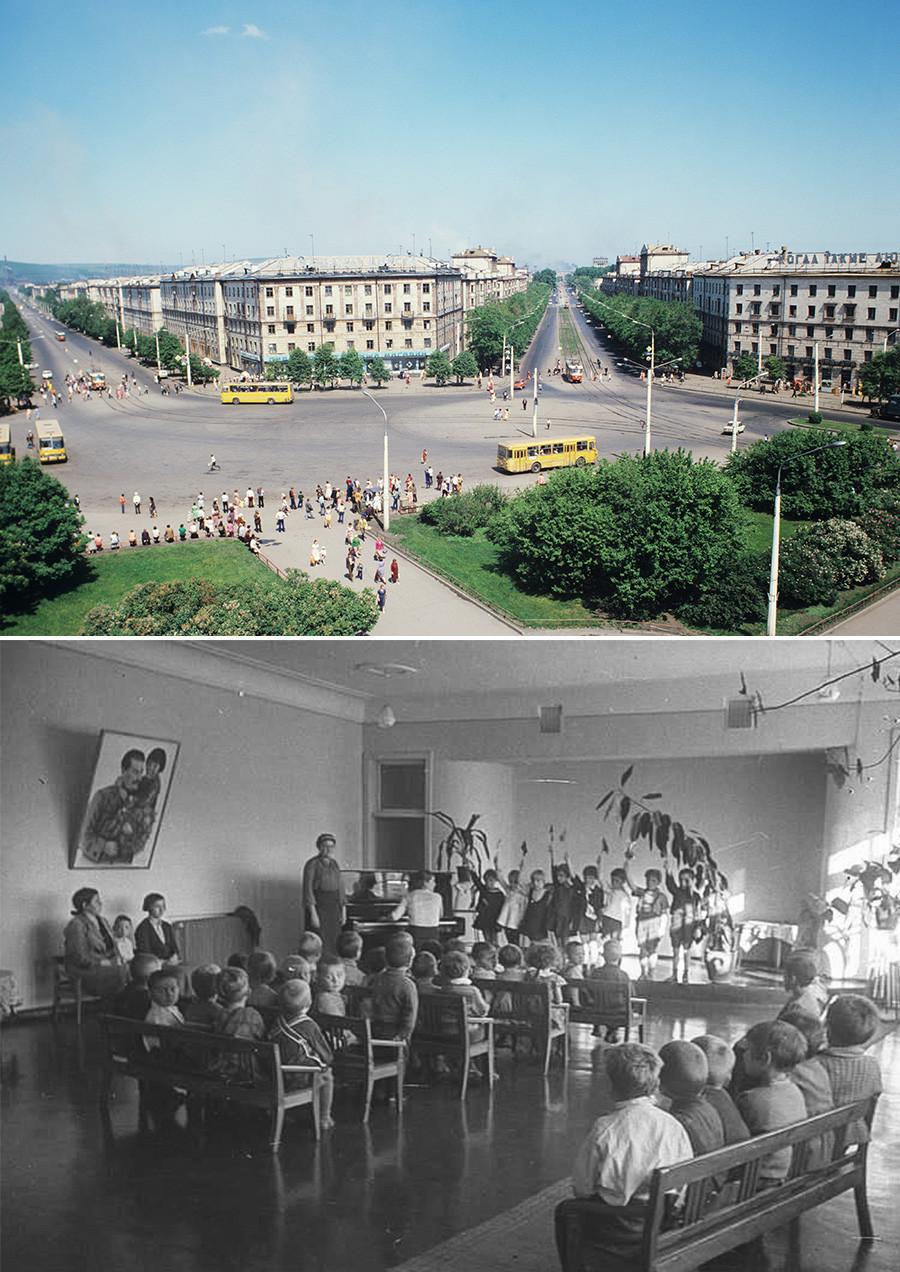 """Em cima: Novokuznetsk, região de Kemerovo. Embaixo: jardim de infância na """"sotsgorod"""" (cidade socialista)."""