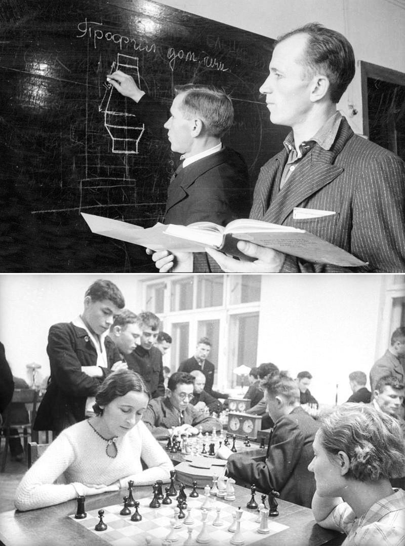 Em cima: Escola para os trabalhadores. Embaixo: Aula de xadrez no clube de trabalhadores local.