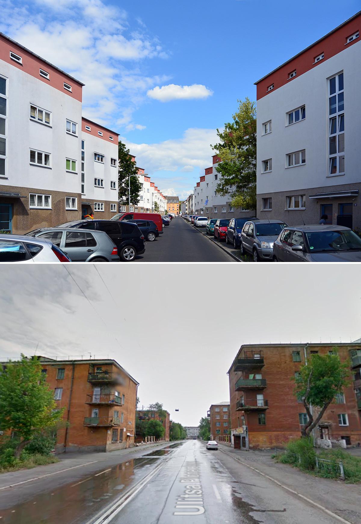 """Acima: """"Prédios Zig-Zag"""", em Frankfurt, projetadas por May. Abaixo: Sotsgorod, em Magnitogorsk."""