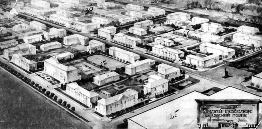 Maquete de povoado em Novossibirsk.
