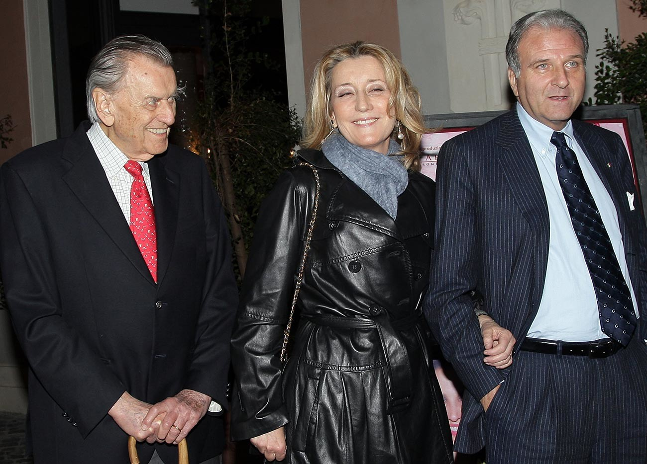 Nicola Romanoff, Natalia Romanoff and senator Giuseppe Consolo attend 'Smetti di piangere Penelope' theatre performance premiere at the Ambra Jovinelli theatre