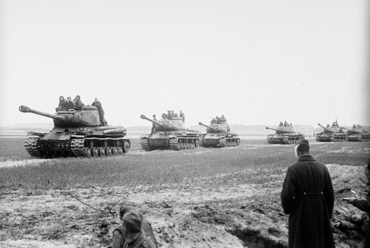 Soviet tanks near Berlin.