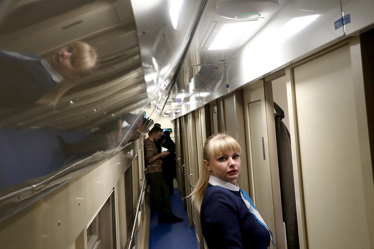 Une hôtesse du train Tavria, circulant entre Moscou et Simferopol.