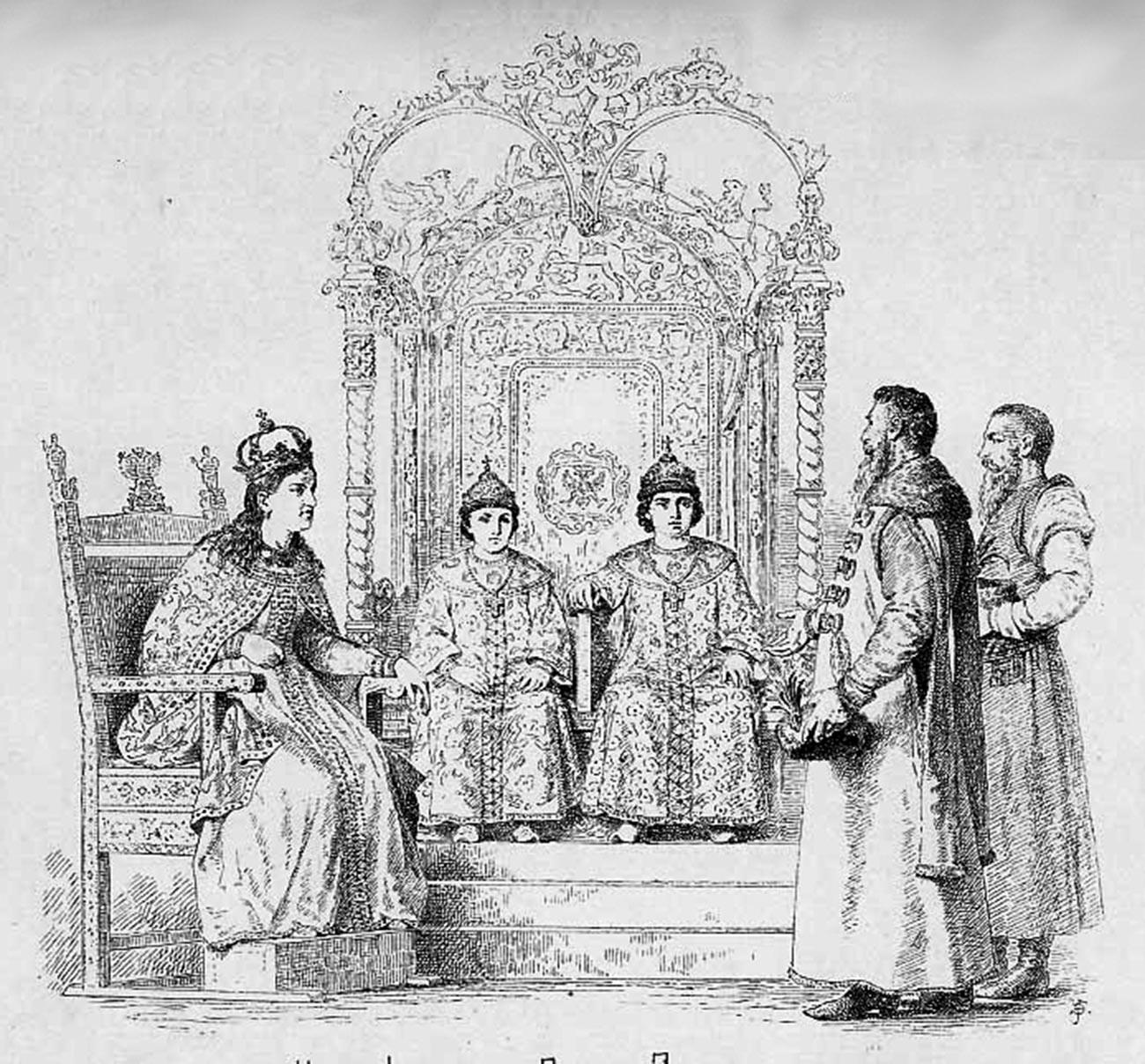 Tsares Ivan e Peter com Sofia, 1682-1689.