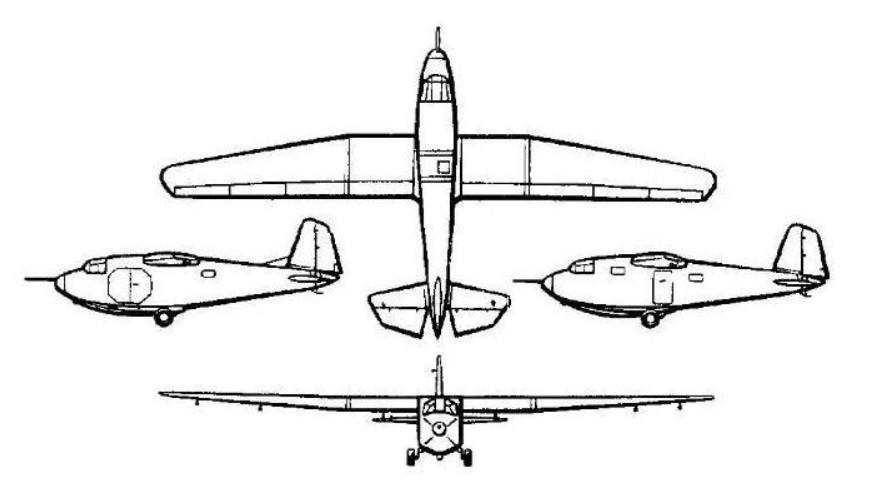 Технички цртеж једрилице Г-11