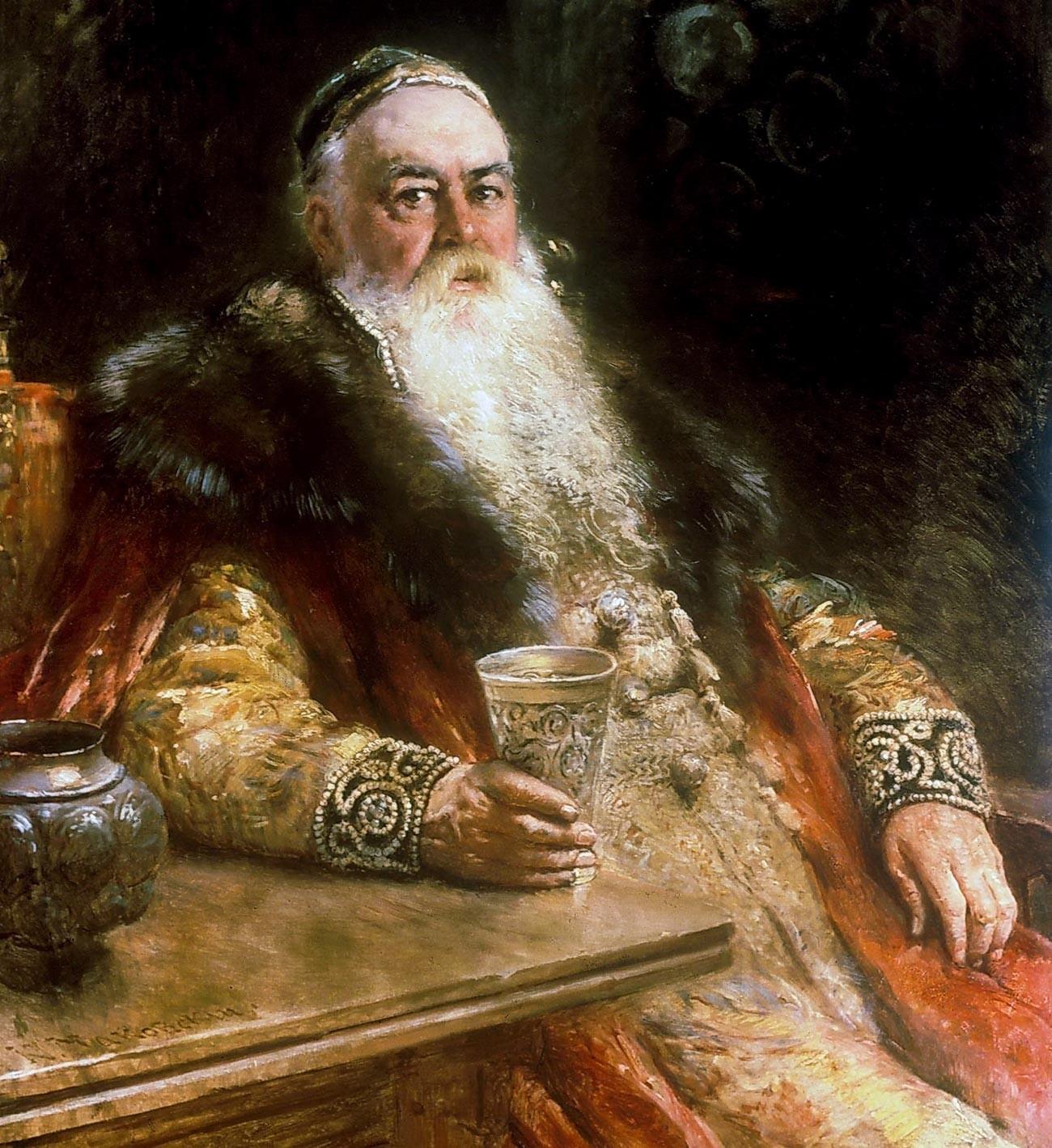 Seorang boyar (bangsawan) Rusia mengenakan shuba berkerah bulu.
