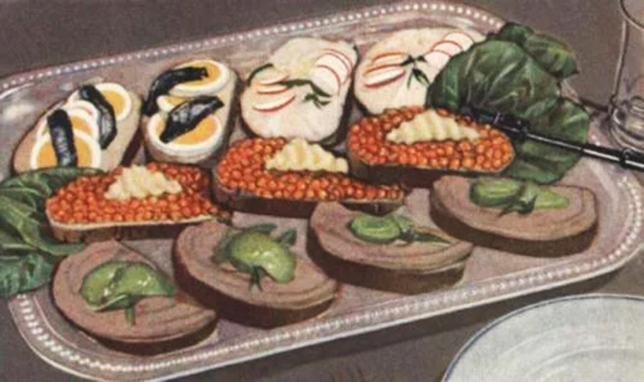 """Ein Servierbeispiel für Butterbrote aus der sowjetischen Kochbibel """"Das Buch der schmackhaften und gesunden Küche"""""""