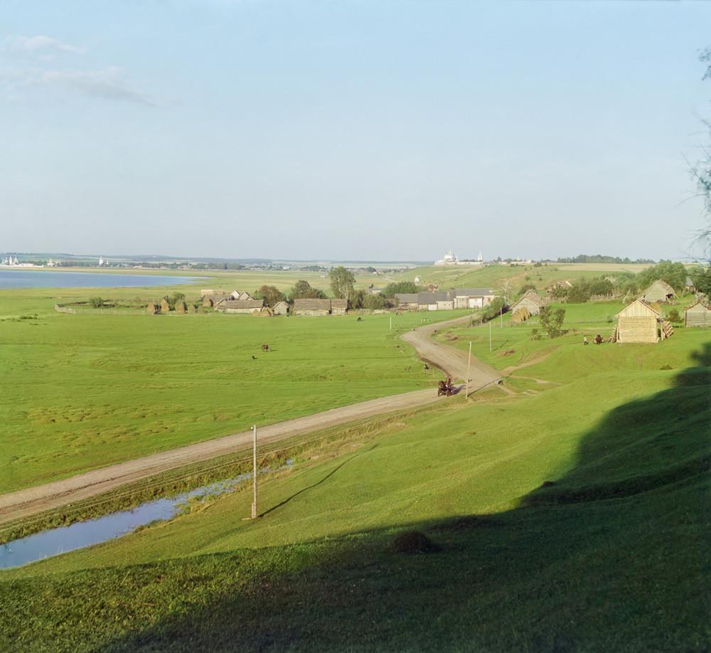 Pereslavl-Zalessky. Panoramic view east from Veskovo village. Left foreground: Pleshcheyevo Lake. Center distance: white walls of Goritsky Monastery, beyond which is the Trinity-Danilov Monastery. Summer 1911.