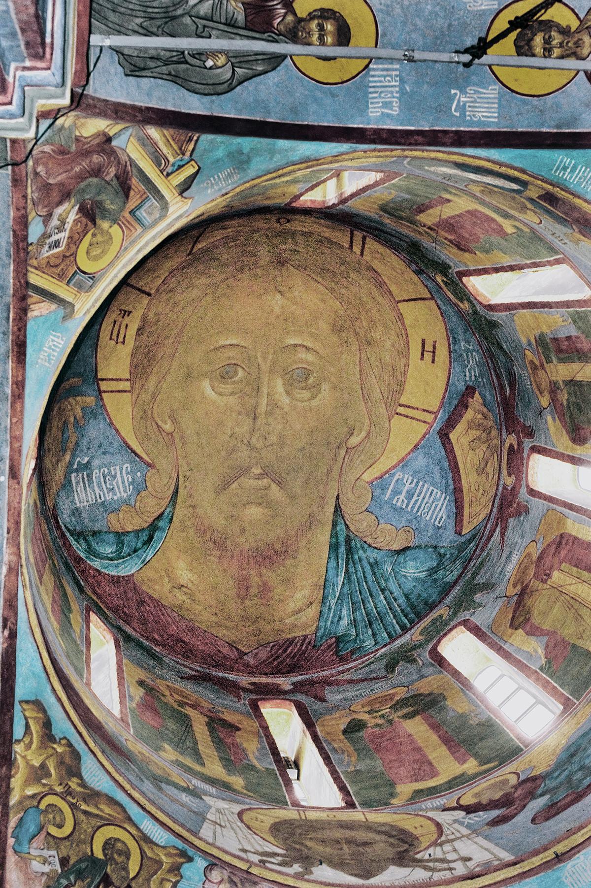 Dome. Fresco of Christ Pantocrator & Archangels. Left: Evangelists Luke (top) & John with Prokhor. August 21, 2013.