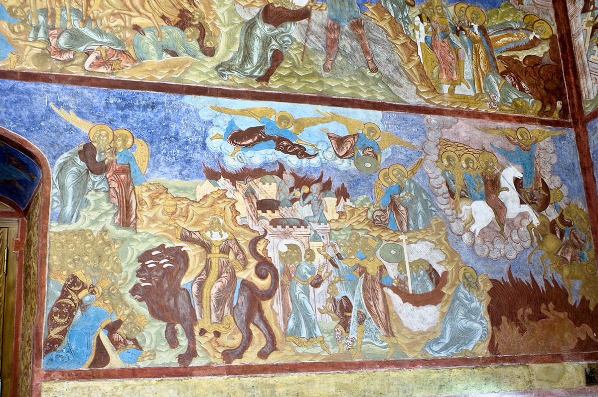 West wall. Frescoes from Revelation, 16-19. From left: the Angel shows St. John the overflowing of God's Cup of Wrath; Vision of Babylon & the Beast; God's People leave the destruction of Babylon; the Righteous Judge on a White Horse slays with a sword the Unclean Peoples. August 14, 2019