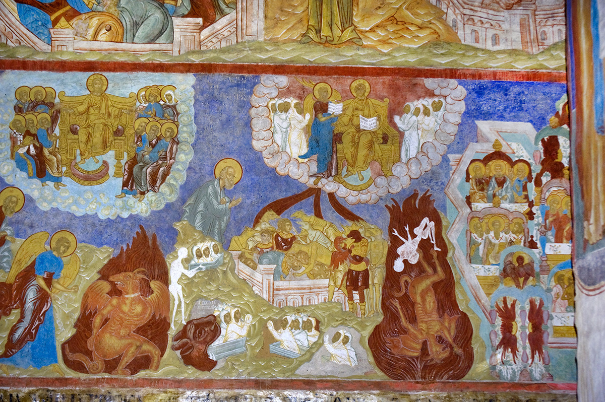 North wall, west bay, 1st row. Frescoes from Book of Revelation 20. From left: Angel with the Key Locks Satan for a 1000 years; the Peoples of Gog & Magog encompass the Camp of the Saints; Death & Hell cast into the Lake of Fire and Brimstone; the Resurrection of the Dead; Heavenly Jerusalem.