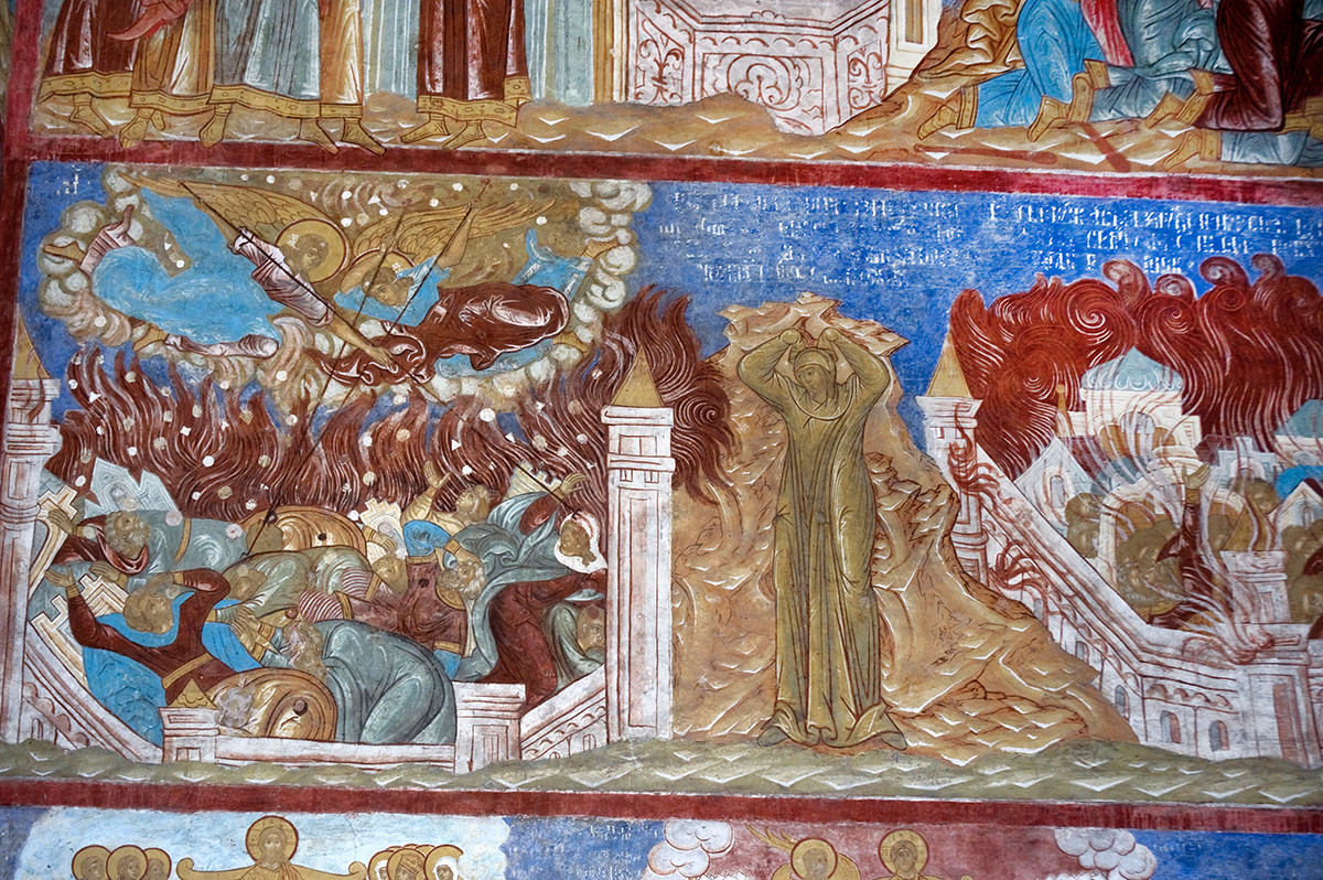 North wall, west bay, 2nd row. Frescoes from Genesis 19. From left: Fire & brimstone rain down on Sodom; Lot's wife turned into pillar of salt; Burning Sodom. August 14, 2019.
