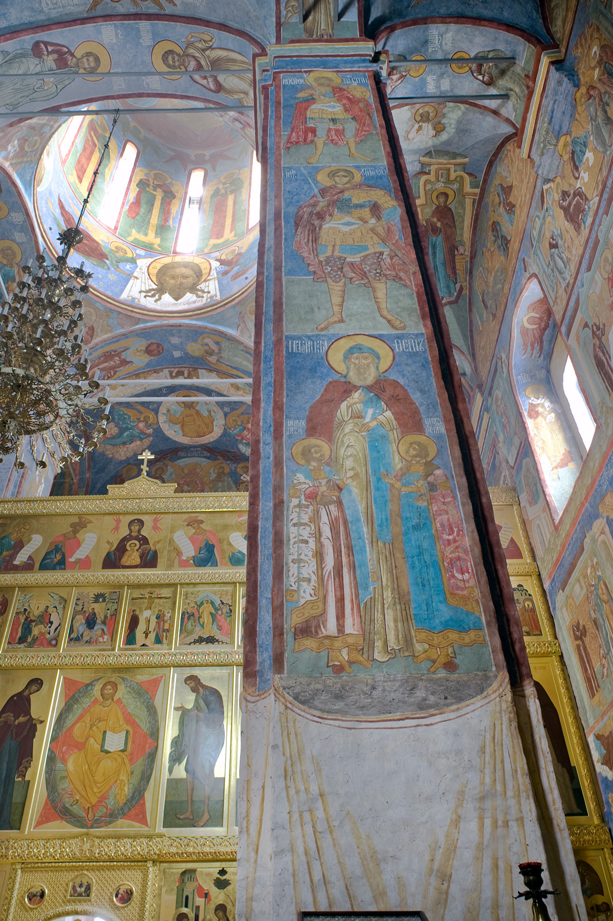 Trinity Cathedral interior. View east toward icon screen. Right: southwest pier with fresco of Prince Fyodor Chorny of Yaroslavl & his sons David & Konstantin. August 21, 2013.