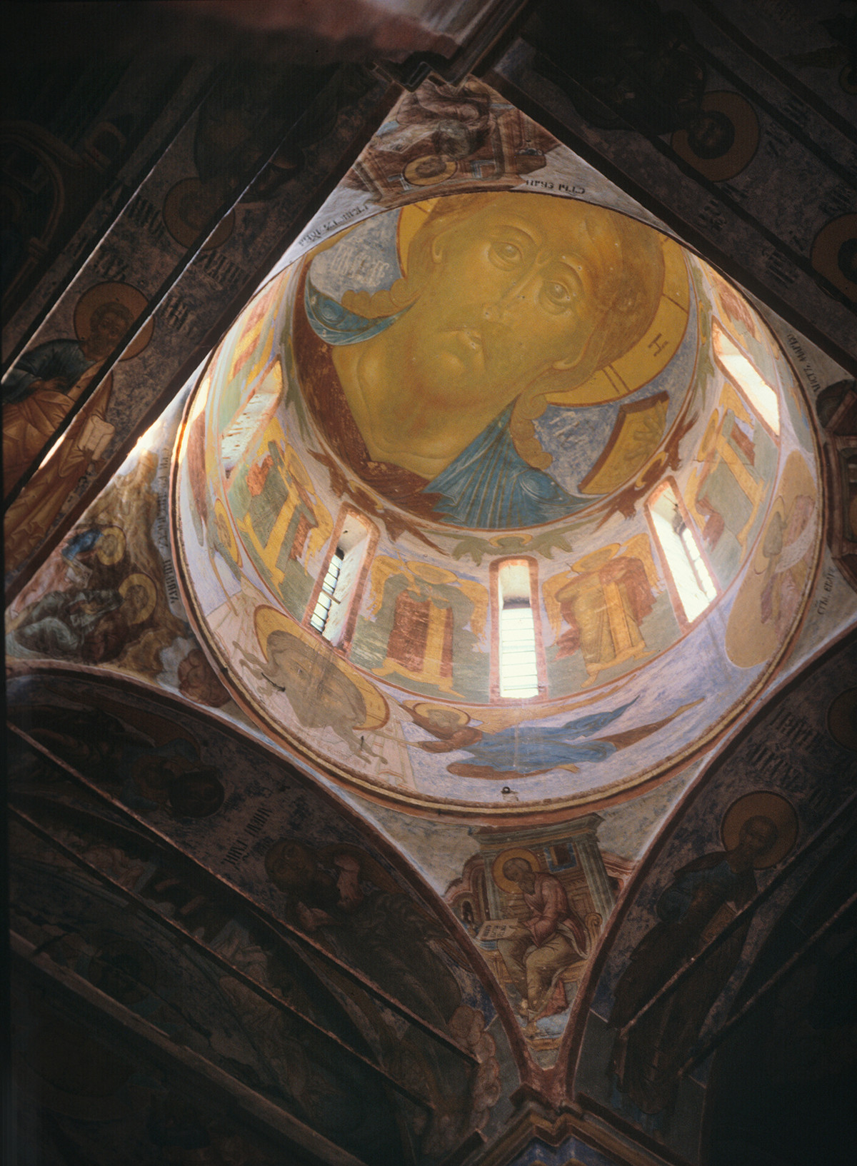 Trinity Cathedral interior. Dome with fresco of Christ Pantocrator. April 28, 1980.