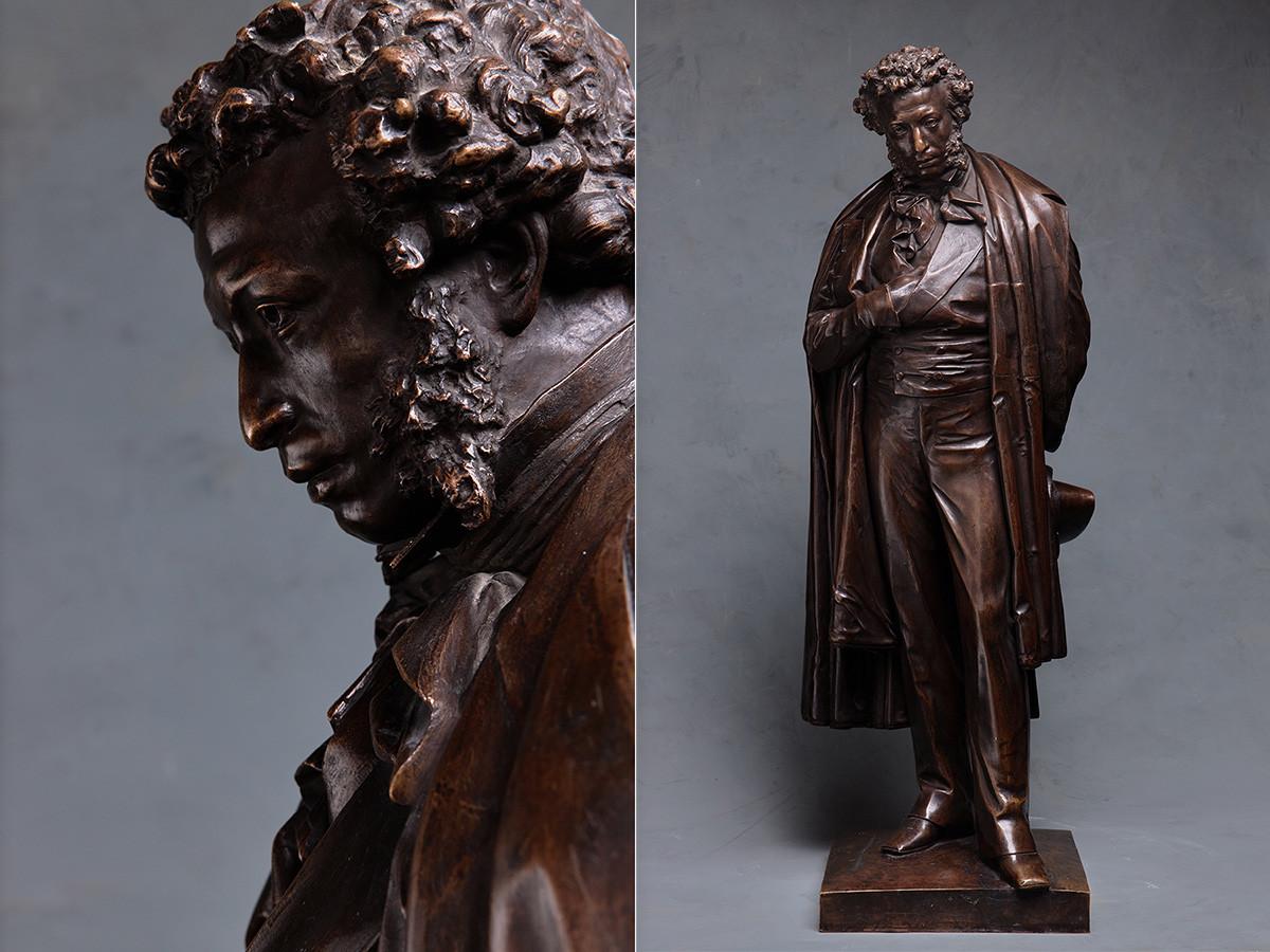 アレクサンドル・オペクシン、詩人アレクサンドル・プーシキンの銅像のモデル、1875年、ブロンズ