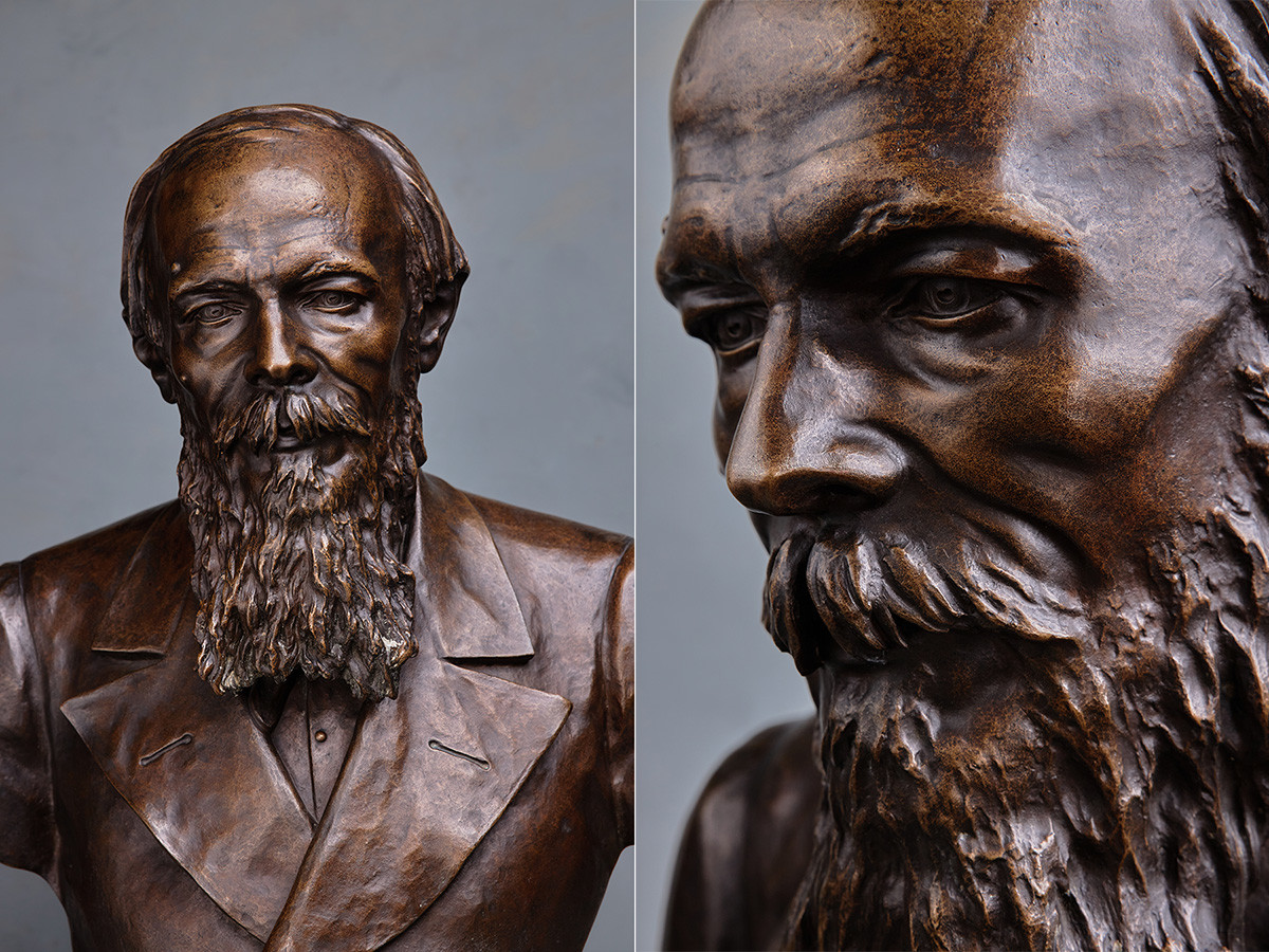 レオポルド・ベルンシタム、作家フョードル・ドストエフスキーの肖像、1881年、ブロンズ