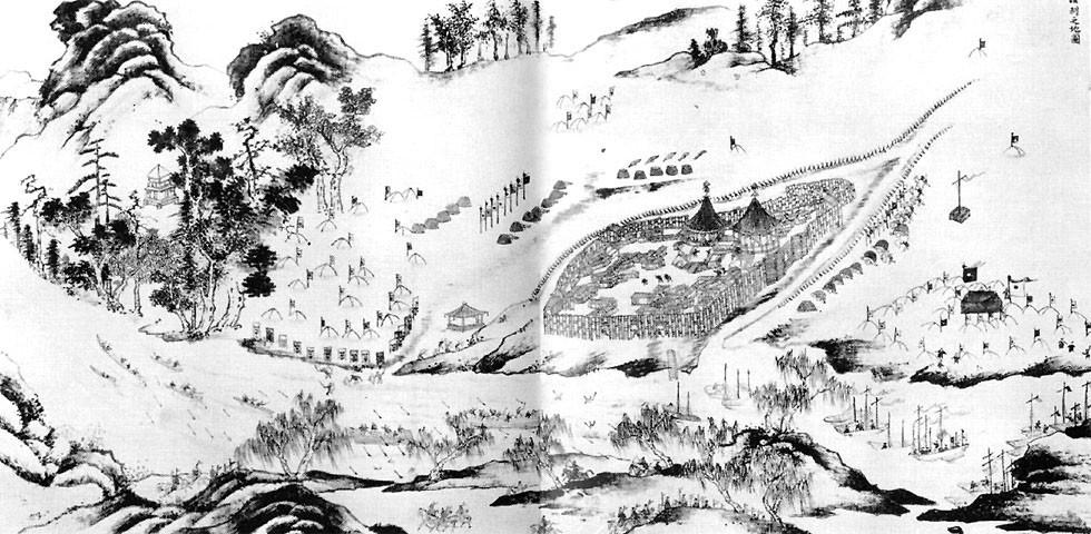 Belagerung von Albazin. Chinesische Malerei des 17. Jahrhunderts.