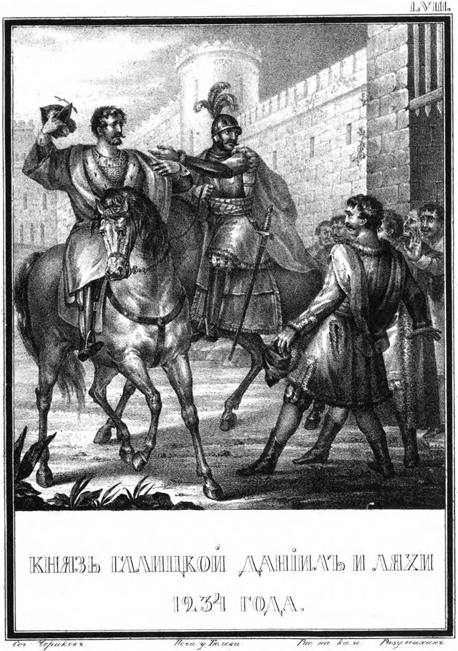 Daniil dari Galisia pada 1234 (dari Ilustrasi Sejarah Rusia oleh Nikolai Karamzin), 1836. Ditemukan dalam koleksi Perpustakaan Nasional Rusia, Moskow.