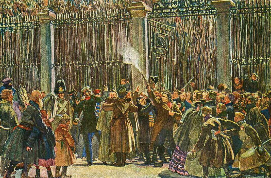 Atentat Karakozova na carja Aleksandra II. Razglednica iz leta 1948, avtor Dmitrij Kardovski
