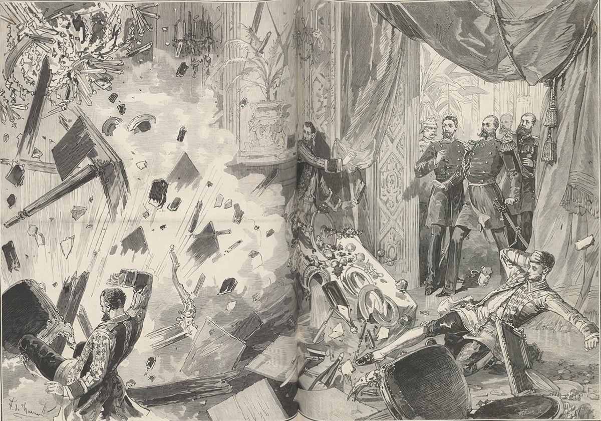Car Aleksander II. po eksploziji 17. februarja 1880 zvečer. Ilustracija iz časopisa Le Monde Illustré, 1880. Iz zbirke Narodne knjižnice Francije. Avtor: Frédéric de Haenen (1853-1928)