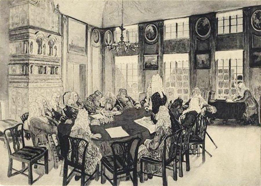 Zasedanje senata v času Petra I. v Jekaterinskem dvorcu