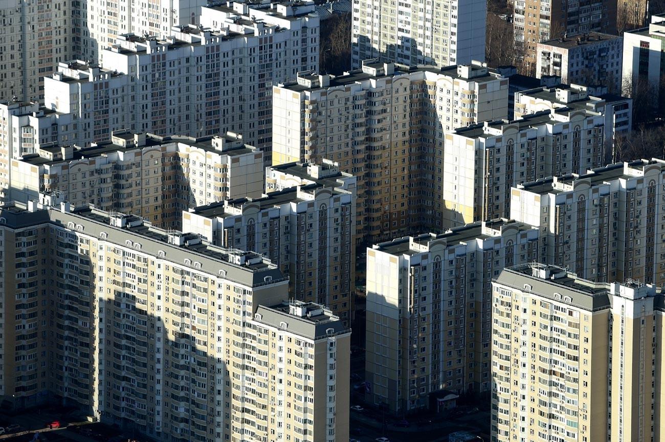 Vue sur le complexe résidentiel Marfino depuis la plateforme d'observation de la tour de télévision d'Ostankino, à Moscou