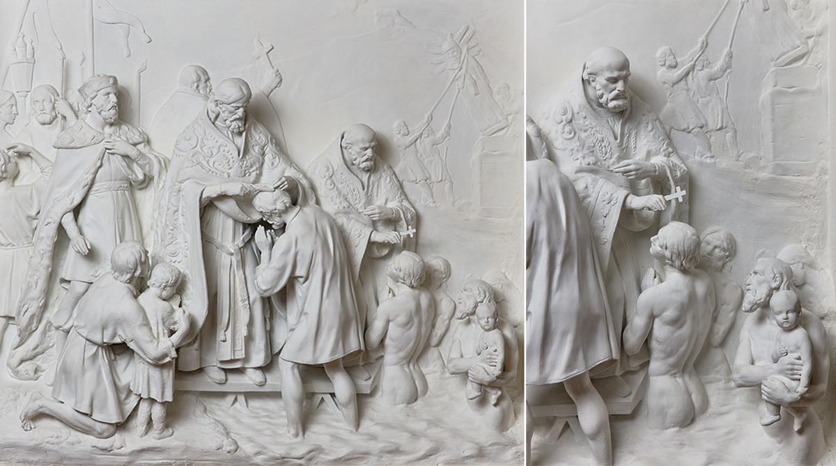 Ivan Vitali. Baptême des Kiéviens. 1845-55. Plâtre, bois.
