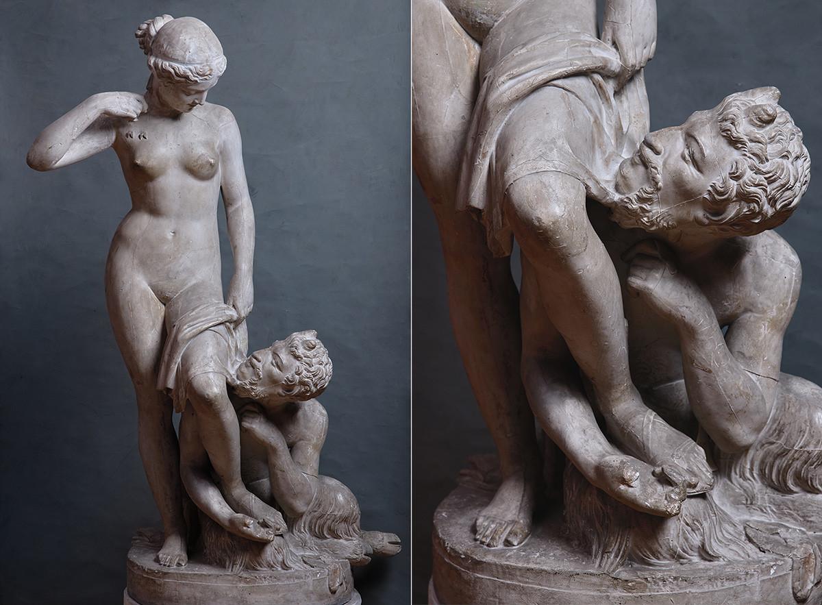 Piotr Stavasser. Le satyre et la nymphe. 1845. Plâtre.