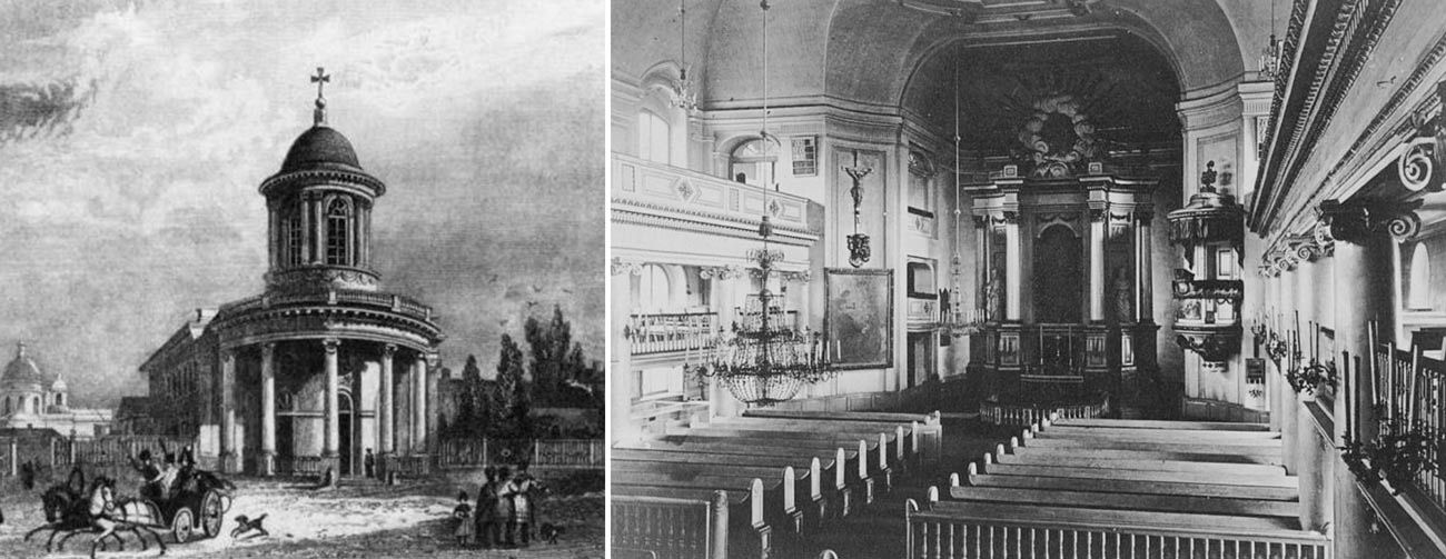 St. Anne's Church in 1834 and in the end of the XIXth century.