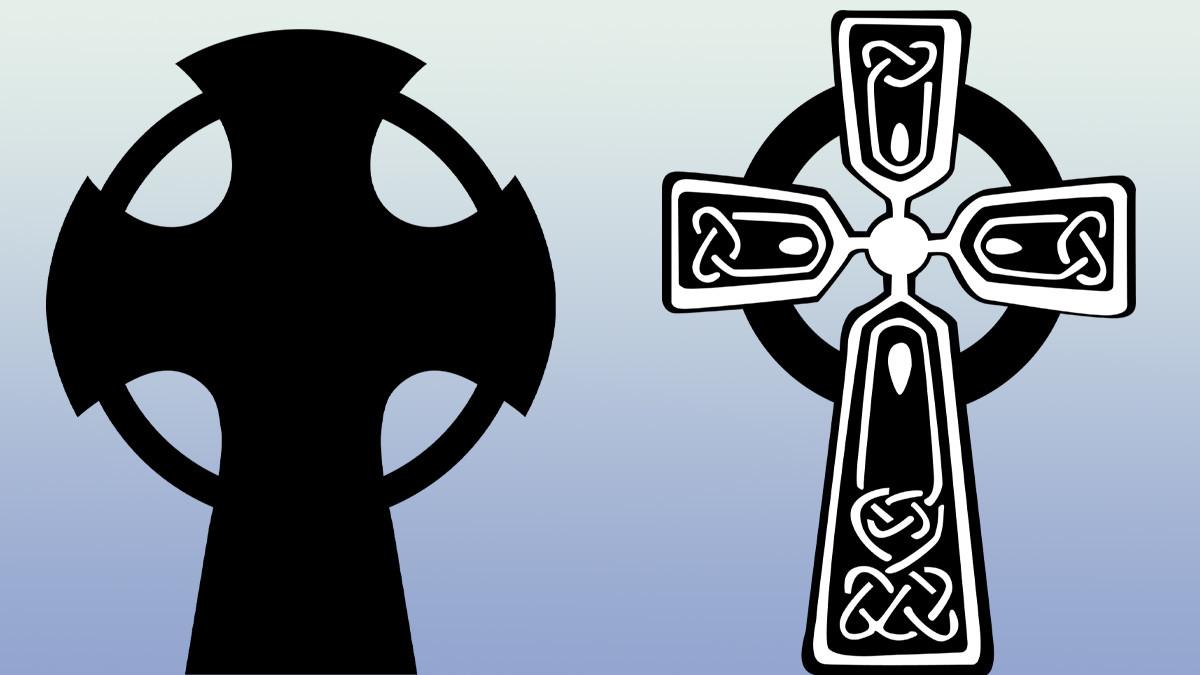 l. - Nowgorod Kreuz, r. - Keltisches Kreuz
