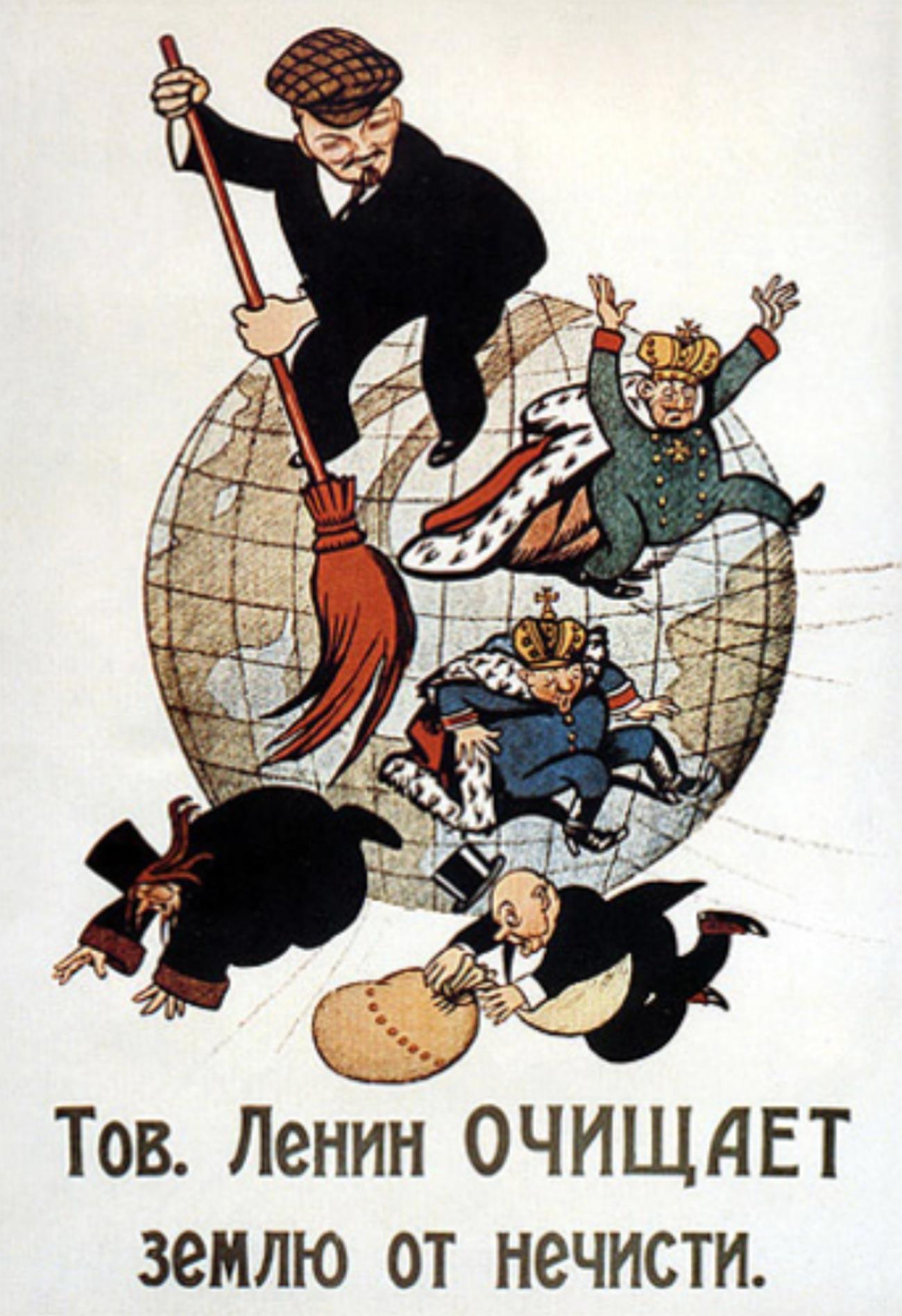 Genosse Lenin reinigt die Welt vom Bösen.