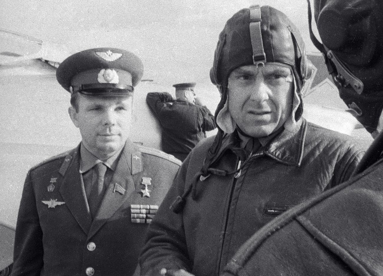 Yuri Gagarin (left) was assigned to stand-in, in case Komarov (right) wasn't able to fly.