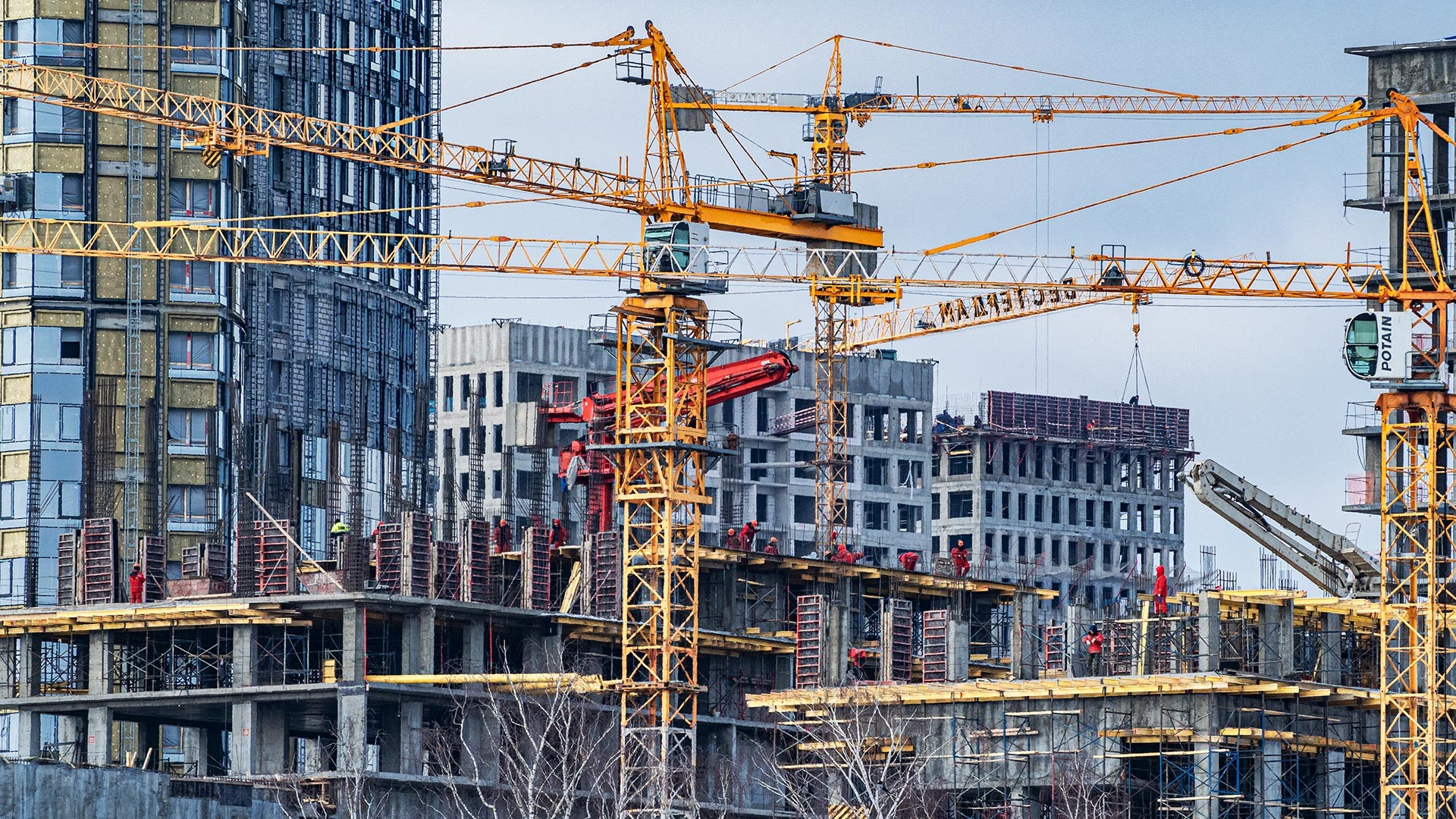 New apartment buildings under construction in Moscow.