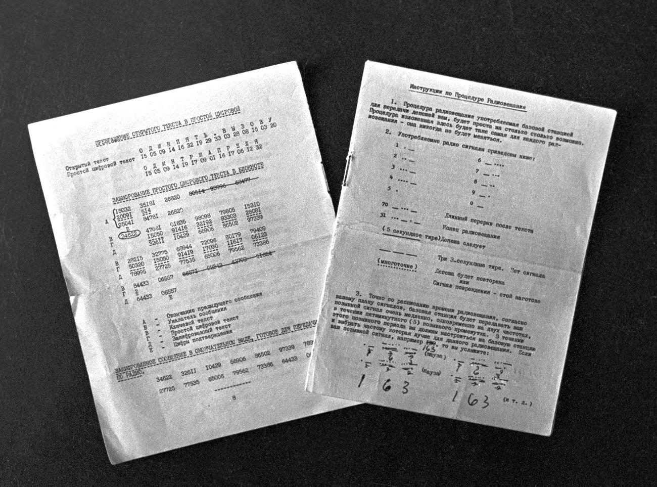 Pages d'un carnet de chiffrement ayant appartenu à Oleg Penkovski