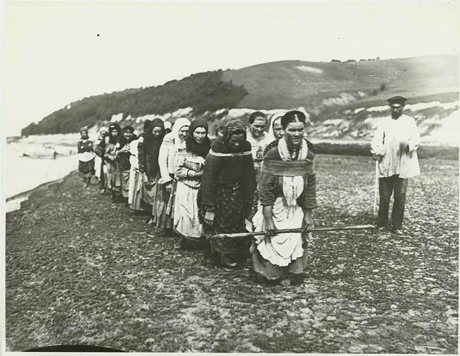 スラ川で艀(はしけ)を引く女性船曳き