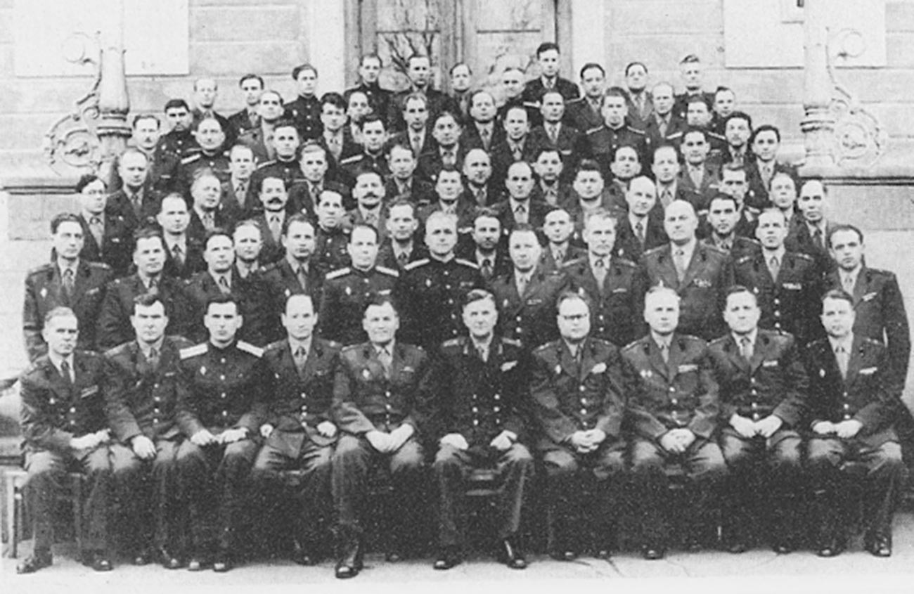 Graduating class of the Dzerzhinzkiy Artillery Engineering Academy in the USSR in 1960; Oleg Penkovskiy is the third from right in the front row.