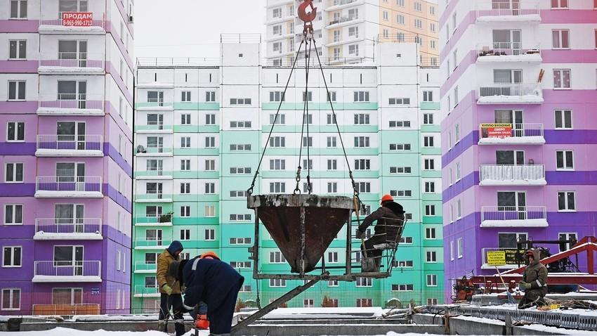"Stanovanjski kompleks ""Prostorni"" v gradnji v Novosibirsku."