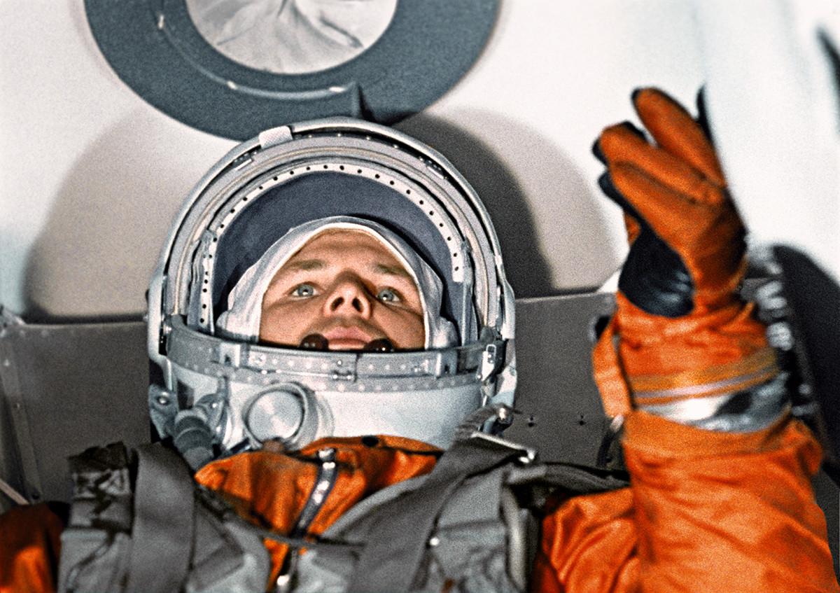 ボストーク1号打ち上げ前のユーリー・ガガーリン
