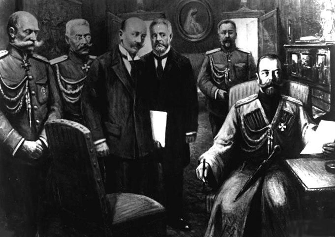 (Dari kiri) Pangeran Woldemar Freedericksz, Menteri Rumah Tangga Kekaisaran, Jenderal Nikolai Ruzskiy; Vasily Shulgin, Aleksandr Guchkov, saat pengunduran diri  Nikolai II (kanan).