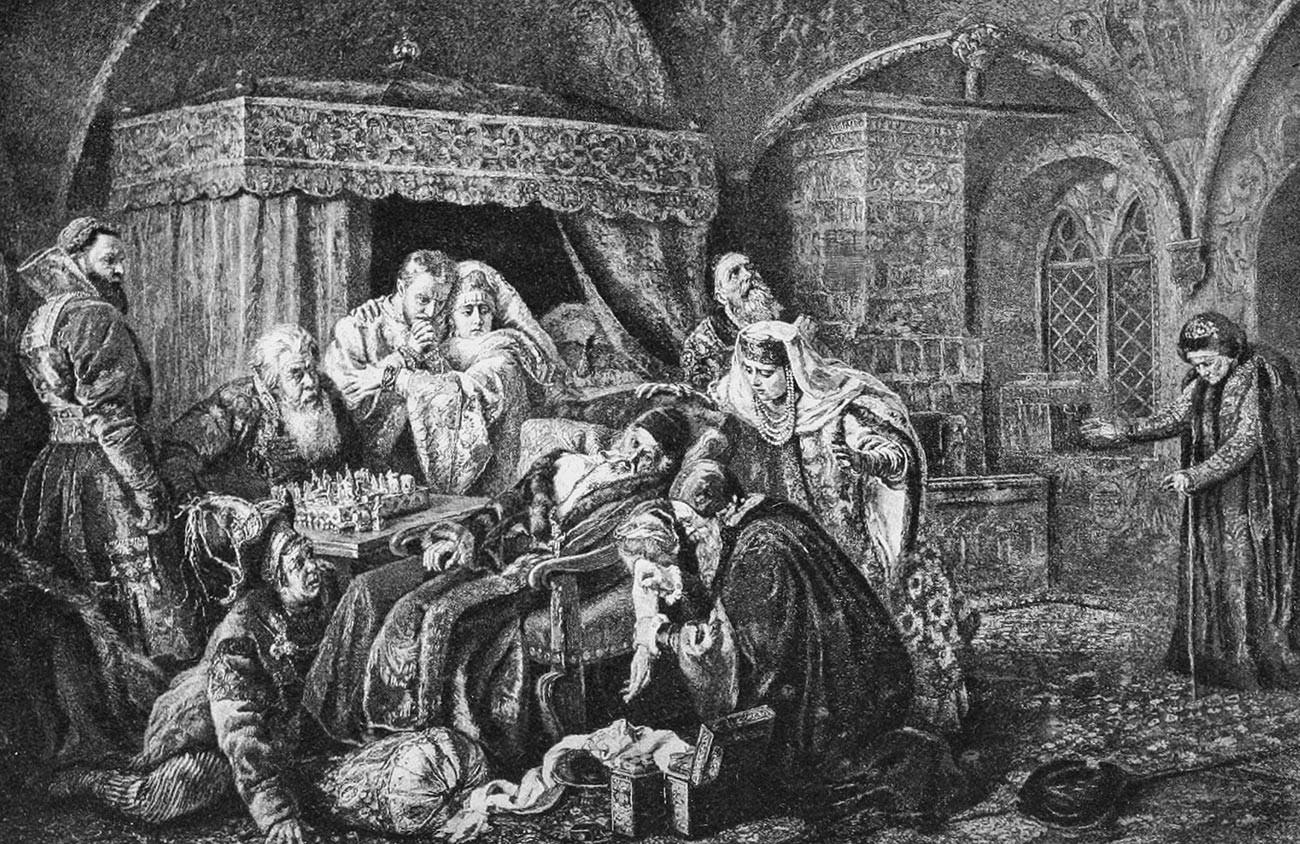 """""""Der Tod von Iwan dem Schrecklichen"""" von Konstantin Makowski"""