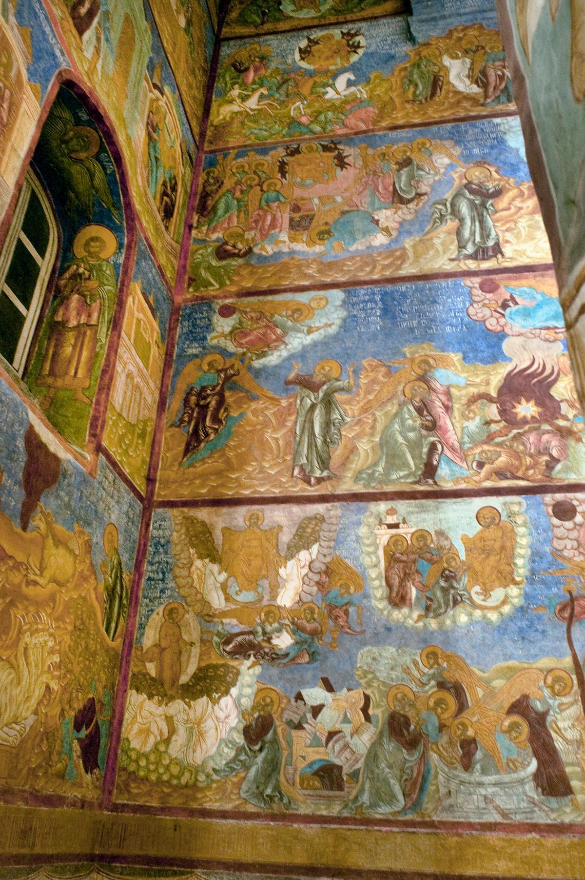 Allée nord, voûte centrale du plafond. Fresque : Nativité de la Vierge Marie (Sainte Anne en haut).