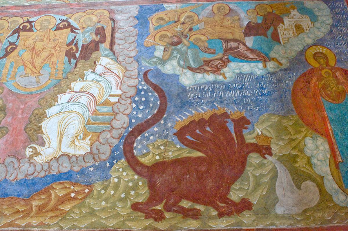 Mur sud, 1ère rangée. Fresques de l'Apocalypse, 12. De gauche à droite : le Christ et les Justes vêtus de blanc ; le dragon rouge à sept couronnes et dix cornes ; vision de la femme vêtue du soleil.
