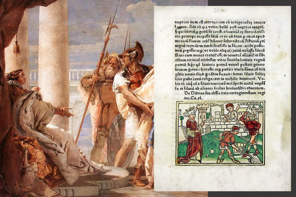 La storia di Didone; a destra: un frammento del dipinto