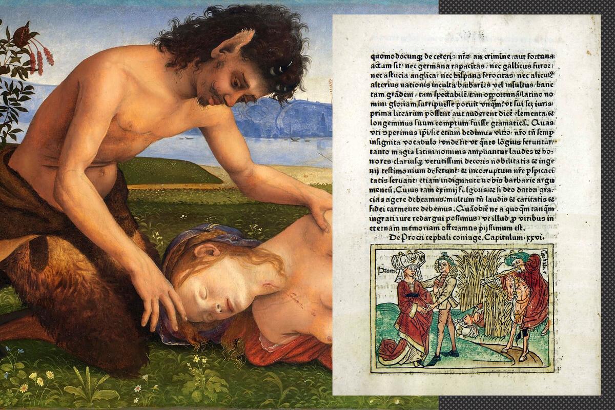 La storia di Procri; a destra, un frammento del quadro