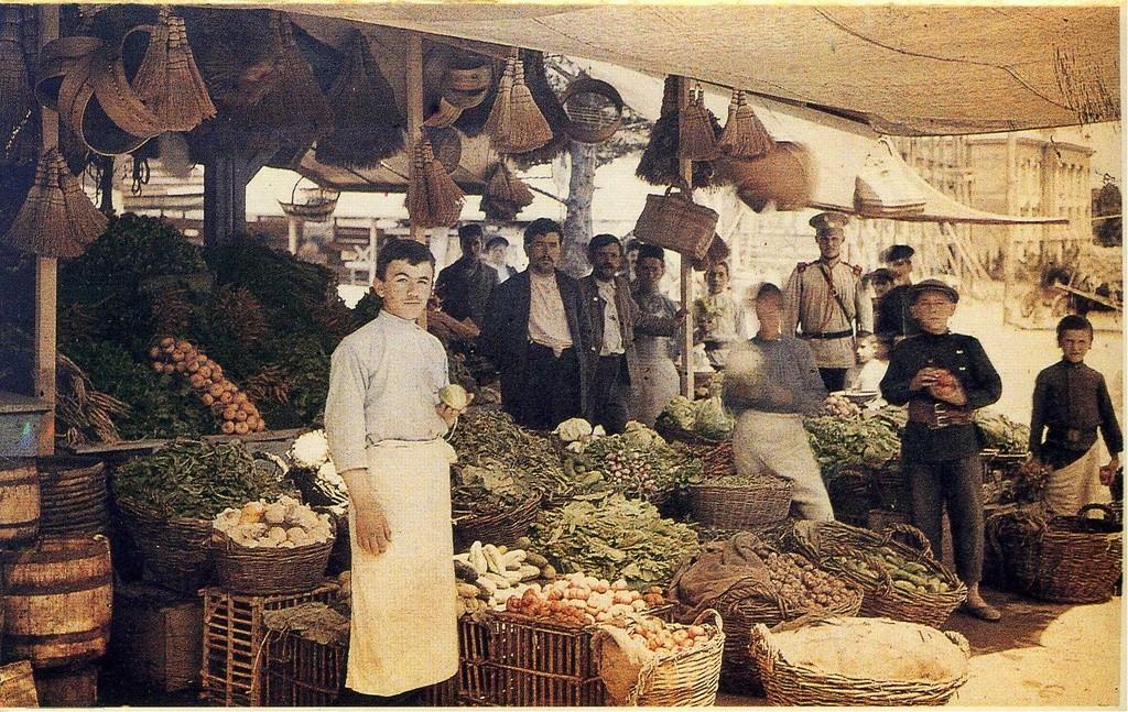 Vendeurs dans un marché de Yalta, 1913