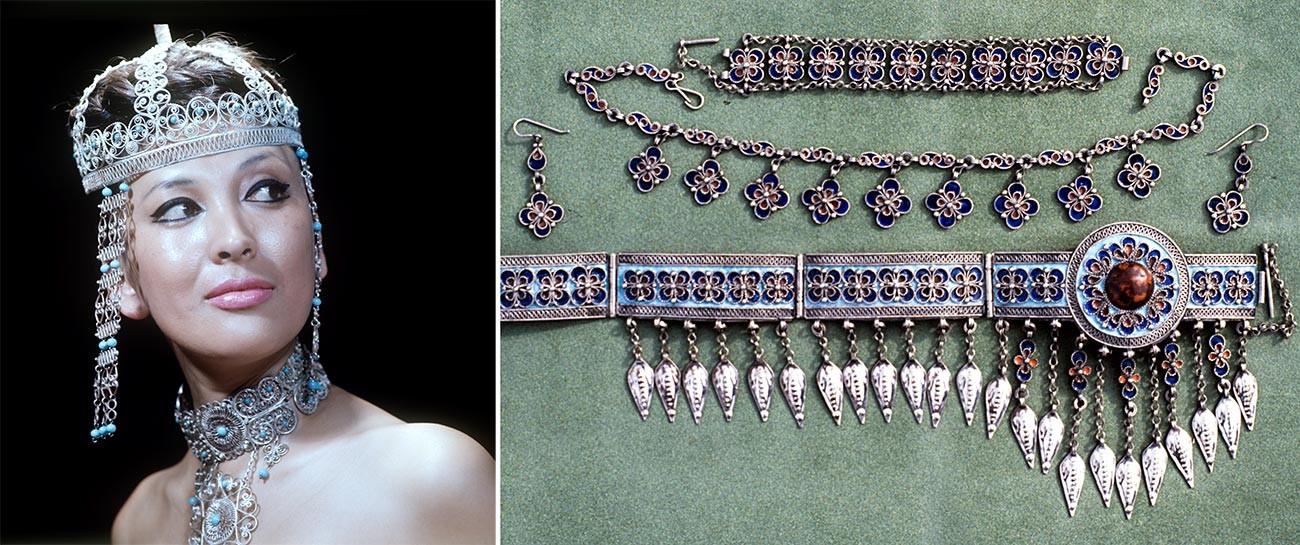 A sinistra: gioielli realizzati da produttori del Kazakhstan; a destra: filigrana incastonata da gioiellieri turkmeni