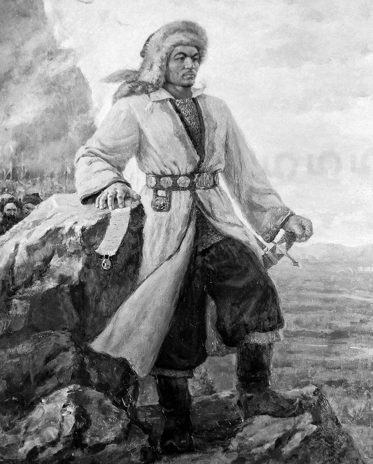 First ever portrait of Salavat Yulayev in Bashkir art, drawn by Gabdulla Mustafin in 1957. Reproduction
