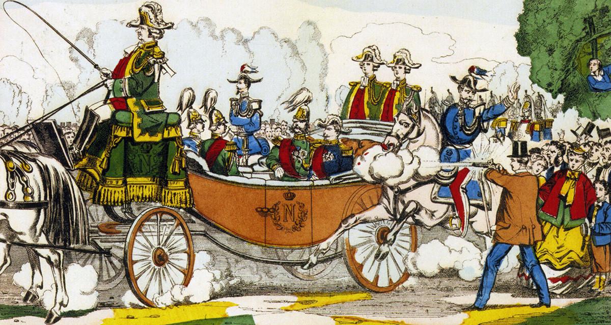 Kaisar Rusia Aleksandr II selamat dari upaya pembunuhan saat duduk di sebelah Kaisar Prancis Napoleon III di Paris pada 1867.