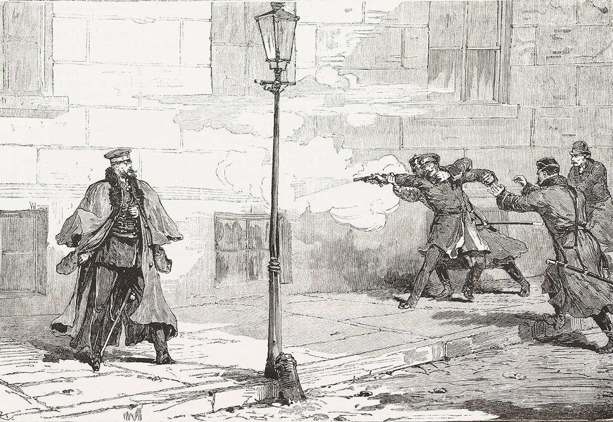 Serangan terhadap Kaisar Aleksandr II Romanov oleh revolusioner Aleksandr Soloviev di Sankt Peterburg, Rusia, 14 April 1879, diukir oleh Canedi dari L'Illustrazione Italiana, No 18, 4 Mei 1879.